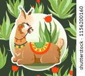 illustration with llama and... | Shutterstock .eps vector #1156200160