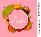 hello autumn greeting card... | Shutterstock .eps vector #1156209736