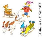 children winter sledging | Shutterstock . vector #1156213369