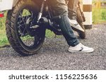 cose up of biker man and... | Shutterstock . vector #1156225636
