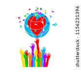 hands support the globe with... | Shutterstock .eps vector #1156231396