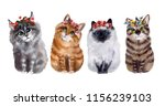 Watercolor Cute Funny Cats With ...