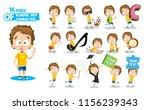 little boy in yellow shirt... | Shutterstock .eps vector #1156239343