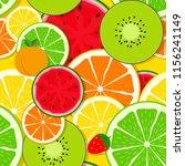 mixed fruit seamless pattern... | Shutterstock . vector #1156241149