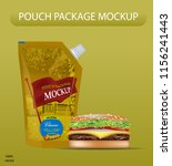 yellow mustard pouch mockup.... | Shutterstock .eps vector #1156241443