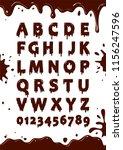 font of chocolate glaze. sweet... | Shutterstock .eps vector #1156247596