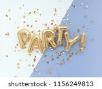 party letters  flat lay foil... | Shutterstock . vector #1156249813
