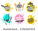 sketch style cooking lettering... | Shutterstock .eps vector #1156262323