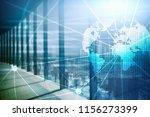 double exposure mixed media. 3d ... | Shutterstock . vector #1156273399