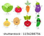 set of different cute happy... | Shutterstock .eps vector #1156288756