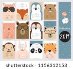 cute monthly calendar 2019 with ... | Shutterstock .eps vector #1156312153