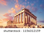 Parthenon Temple On A Sunset...