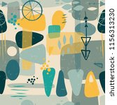 mid century shapes abstract... | Shutterstock .eps vector #1156313230