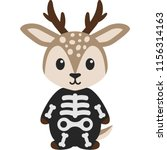 deer in skeleton costume   cute ... | Shutterstock .eps vector #1156314163