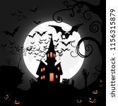 halloween night with moon and... | Shutterstock .eps vector #1156315879