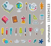 set of cartoon stickers colored ... | Shutterstock .eps vector #1156334113