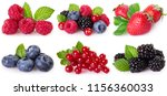 collection of berries isolated... | Shutterstock . vector #1156360033