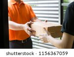 woman hand accepting a delivery ... | Shutterstock . vector #1156367059