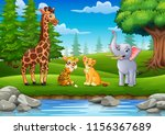 the animals are enjoying nature ... | Shutterstock .eps vector #1156367689