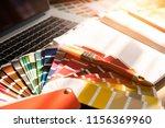 professional decorator drawing... | Shutterstock . vector #1156369960