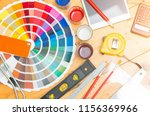 professional decorator drawing... | Shutterstock . vector #1156369966