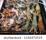 lobsters on ice on store shelves | Shutterstock . vector #1156372519
