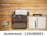 vintage typewriter paper and... | Shutterstock . vector #1156380853