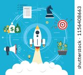 rocket flying with icons of... | Shutterstock .eps vector #1156408663