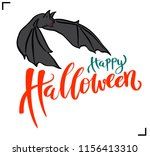 happy halloween lettering with... | Shutterstock .eps vector #1156413310