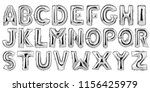 english alphabet from silver... | Shutterstock . vector #1156425979