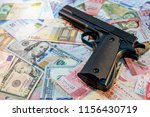 black gun on various of... | Shutterstock . vector #1156430719