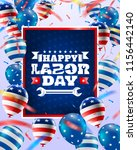happy labor day poster template.... | Shutterstock .eps vector #1156442140
