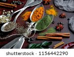 spices for cooking with kitchen ... | Shutterstock . vector #1156442290