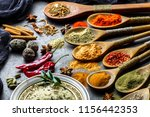 spices for cooking with kitchen ... | Shutterstock . vector #1156442353