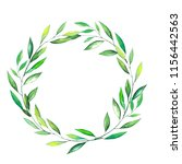 round frame with green branches ... | Shutterstock . vector #1156442563