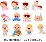 cartoon babies in different... | Shutterstock .eps vector #1156456360