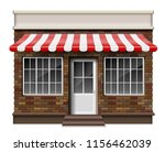 Brick small 3d store or boutique front facade. Exterior boutique shop with window. Mockup of realistic street shop isolated. Vector illustration