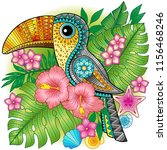 a bright decorative toucan... | Shutterstock .eps vector #1156468246