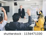 business man hand up for asking ... | Shutterstock . vector #1156471330
