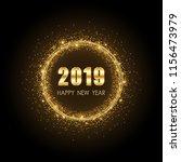 golden happy new year 2019 in... | Shutterstock .eps vector #1156473979