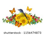tit bird sits on a branch of... | Shutterstock . vector #1156474873