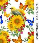 seamless floral pattern. bird... | Shutterstock . vector #1156474876