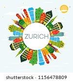 zurich switzerland city skyline ...   Shutterstock . vector #1156478809