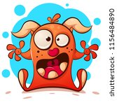 funny  cute crazy monster... | Shutterstock .eps vector #1156484890