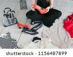 fashion blogger conducting a... | Shutterstock . vector #1156487899