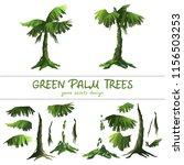 cartoon green palm trees on a...