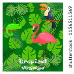 tropical voyage with pink... | Shutterstock .eps vector #1156511569