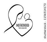 vector line illustration mother ... | Shutterstock .eps vector #1156514173