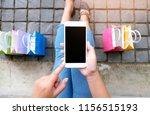 asian girls holding sale... | Shutterstock . vector #1156515193