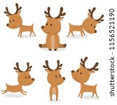 collection of cute reindeer... | Shutterstock .eps vector #1156521190